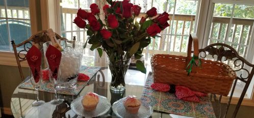 Anniversary roses and sweets
